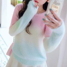 Sweet pastel gradient mohair sweater