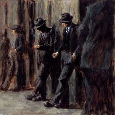 The end of an era of men in fedoras.  Soon after this painting, men's fashion became much more casual, and we started seeing baseball caps and blue jeans.  Fabian Perez 1967 ~ Argentine Figurative painter