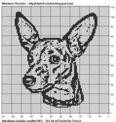 Free Filet Crochet Charts and Patterns: Miniature Pinscher in Filet Crochet