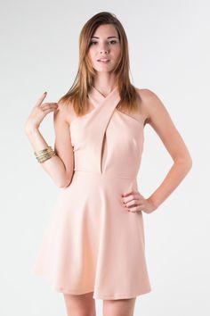 Pink Cross Over Dress #cutout #partydress