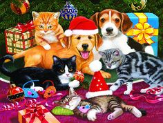 This is a 300 piece jigsaw puzzle suitable for the whole family. It is a Christmas scene of puppies and kittens playing under a Christmas tree with pr. Christmas Desktop, Christmas Cats, Christmas Animals, Christmas Time, Vintage Christmas, Xmas, Christmas Tree With Presents, Thing 1, Kittens And Puppies