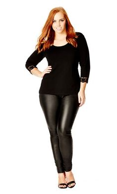City Chic BASIC CROCHET TRIM TOP  - City Chic Your Leading Plus Size Fashion Destination #citychic #citychiconline #newarrivals #plussize #plusfashion