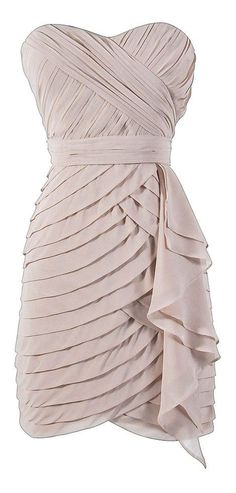 Beige / Taupe Tiered Strapless Dress #fashion #wedding #party #date #dance #womens