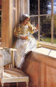 """Looking Out o'Window"" or ""Sunshine"" 1881 by Lady Laura Teresa Alma-Tadema, Oil on canvas Lady Laura Teresa Alma-Tadema wife of the immensely popular painter Lawrence Alma-Tadema and a painter in her own righ Lawrence Alma Tadema, Art And Illustration, Lady Laura, Dutch Painters, Pre Raphaelite, Beautiful Paintings, Oeuvre D'art, Art For Kids, Art Children"