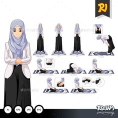 Buy Complete Set of Muslim Woman Prayer Position Guide Step by Step Vector Illustration by ridjam on GraphicRiver. High quality cartoon vector illustration, files can be used for all kinds of needs. Islam Beliefs, Islam Hadith, Islamic Teachings, Allah Islam, Prophets In Islam, Prayer Position, Islam Women, Quran Recitation, Islam For Kids