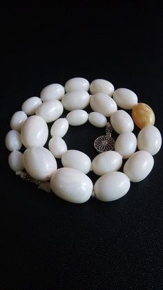 Pure Luxury Ultra Rare Antique Royal Milk White Baltic Amber Olive Bead Necklace