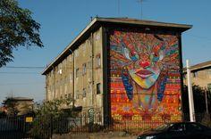 Street Art from Santiago de Chile - Street Art Utopia Street Art Utopia, Street Art Graffiti, Sculpture Art, Sculptures, Brick In The Wall, Fence Art, Beautiful Streets, City Art, Local Artists