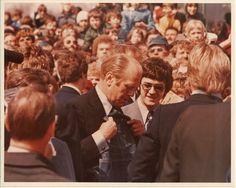 Dwight D. Eisenhower receives OshKosh overalls on his presidential campaign trail in 1952. #oshkoshbgosh