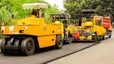 Asphalt Paver Tandem Tire Roller and Dump Truck Working