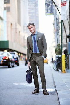 Olive green suit by Neil Barrett