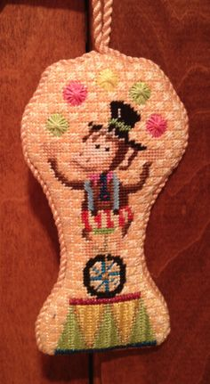Circus Monkey Needlepoint Ornament by Kirk & Bradley