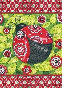 Custom Decor Garden Flag PATTERNED LADYBUG lady bug Spring NEW