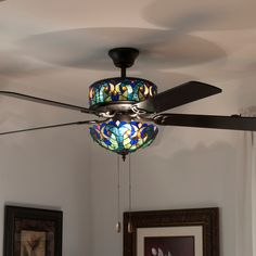 Ceiling Fan Tiffany: $198.02 - 432-306 - Tiffany-Style 52' Halston Double Lit Stained,Lighting