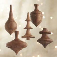 Set of 5 Turned Wood Ornaments