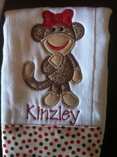 Sock Monkey Burp Cloth Custom Personalized Handmade Boutique Monogrammed Embroidered