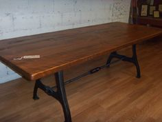 Custom Farm Tables with Rhode Island Industrial Iron Legs and decorative turnbuckle. The table top is stained Medium Spice Brown. Handmade in Providence, RI by The Lorimer Workshop / David Ellison. http://www.lorimerworkshop.com