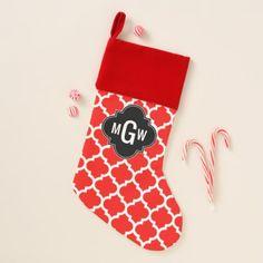Xmas Red White Moroccan Quatrefoil DIY BG 3I Mon Christmas Stocking - diy gifts cyo creative personalize