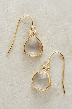 Larue Drops gold hanging earrings with clear gemstone Cute Jewelry, Gold Jewelry, Jewelry Box, Jewelry Accessories, Fashion Accessories, Fashion Jewelry, Jewelry Ideas, Hanging Earrings, Family Jewels