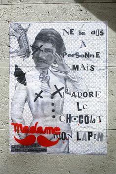 Madame (moustache) - street art - Paris 20 - rue Jean-Baptiste Dumay