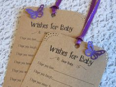 Set of 25 Baby Shower Wishing Tree Tags with Butterflies - Wishes for Baby Girl Kraft Brown with Purple on Etsy, $14.99