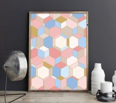 Laminas, Laminas Decorativas, Nordic Deco, Laminas Nordicas, Geometric Abstract Deco, Gold Abstract, Rose Quartz Deco, Rosa Azul Deco