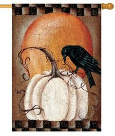 This elegant painting of a white pumpkin and black crow with a setting sun background is rendered onto a house flag that will add beauty, as well as an artistic touch of sophistication hanging up at y Fall Canvas Painting, Autumn Painting, Autumn Art, Tole Painting, Painting & Drawing, Canvas Art, Fall Paintings, White Pumpkins, Painted Pumpkins