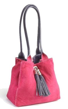 Purple Italian Leather Reversible Tote With Pink Suede Interior