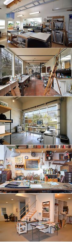 Creative Home Studio / Workspace idea - house and flat decorations Home Art Studios, Art Studio At Home, Artist Studios, Craft Studios, Atelier Photo, Atelier D Art, Creative Home, Creative Studio, Creative Ideas