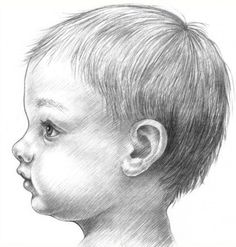 How to draw a baby's face in profile