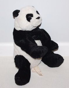 "IKEA KRAMIG Panda Bear Stuffed Toy Plush Kids 15"" Baby Soft Animal Black White"
