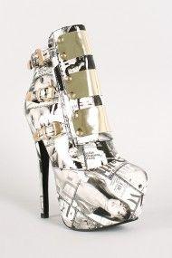 Liliana Boot-1 Collage Metallic Plates Stiletto Platform Ankle Bootie