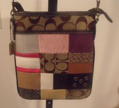 AWESOME - Coach Brown Signature Patchwork Canvas Leather Multi Color Crossbody Bag #Coach #MessengerCrossBody
