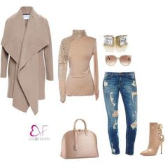 Nude shirt with scale sleeveCoat and jeans available by request Poly blended material Mode Outfits, Fall Outfits, Casual Outfits, Fashion Outfits, Women's Casual, Airport Outfits, Fashion Skirts, Fashion Clothes, Fashion Accessories
