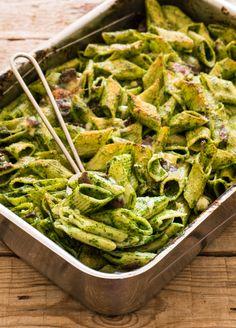Pasta al forno crema di spinaci, bresaola e asiago