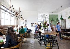Little Henri - Cafe - Food & Drink - Broadsheet Melbourne, like the long padded bench Industrial Bookshelf, Industrial Cafe, Industrial Windows, Industrial Bedroom, Industrial Lighting, Industrial Closet, Industrial Office, Industrial Farmhouse, Industrial Furniture