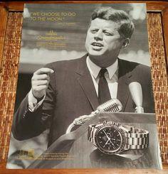 President John F. Kennedy Omega Speedmaster Men's Watch full page Ad Advertising
