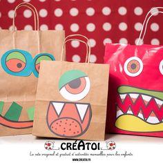 """Mon monstrueux sac - Une idée facile, rigolote et """"éco-responsable"""". Fabrique avec un sac de magasin recycler des yeux et une bouche choisis dans les modèle de CRÉATOI un MONSTRUEUX SAC pour ranger tes bonbons de HALLOWEEN !!!"""