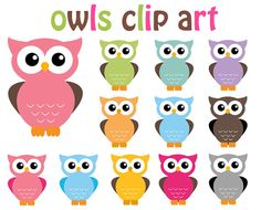 Owl Clip Art Clipart - 12 Digital Elements - Personal and Commercial Use Owl Clip Art, Owl Art, Owl Crafts, Paper Crafts, Owl Classroom, Pink Owl, Baby Owls, Baby Animals, Art Clipart