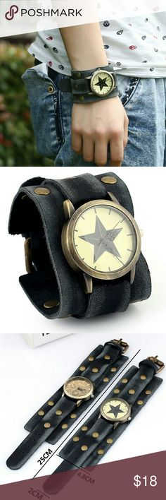 Leather Watch Wide Lether Band Watch Star Watch dial  Unisex    Feature: vintage, european, handmade    Material: leather belt, watch, metal accessories    Watch: electric watch, quartzwerk, watch size 4cm diameter    Specifications: 25cm in length, 4.8cm in width,     Weight: 70g    Makes a great gift for friend and family or self purchase    Birthday gift, Christmas gift, Valentine's gift and etc Accessories Watches