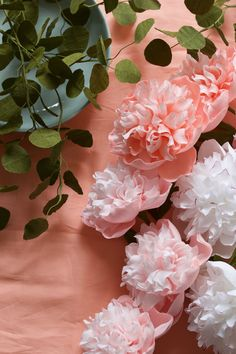 crepe paper peonies, handcrafted and photographed by Papetal
