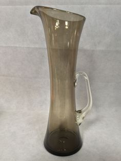 1960s Vintage Mid Century Modern Whitefriars Tall Smoked Grey Glass Jug Wheeler