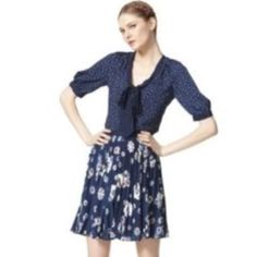 """JASON WU FOR TARGET Sz S Blue Polka Dot Blouse JASON WU FOR TARGET  Sz S Blue Polka Dot Short Sleeve  Snap Buttoned Blouse  Front Tie  Bust 32-34  Length 26""""  New without tags! Jason Wu Tops Blouses"""