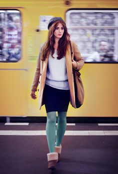 Be OK (by Nadine Drexler) http://lookbook.nu/look/4233099-Be-OK  I love colored leggings/tights and a skirt.
