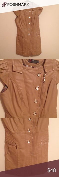 Camel Leather Coat Chic and adorable camel brown leather short sleeve coat.  Unique design with slanted zipper and puffy sleeve.  Tagged size large but will fit more like a small since it's an Asian brand. Jackets & Coats