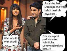 Kapil having fun with Indian Actress Priyanka Chopra on sets of Comedy Nights with Kapil