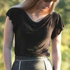This cowl neck top is made with four seams from a simple pattern you can draft yourself.