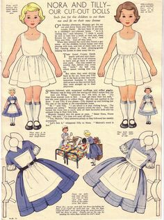 Nora & Tilly paper dolls, Nov 1956
