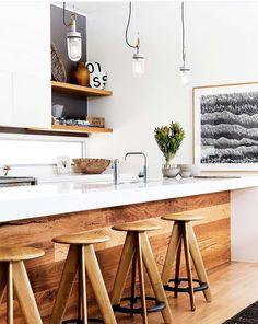 via @mydomaine, kitchen, bar stools, wood and white island