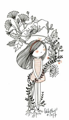 in bouquet – the chosettes – Zeichnungen Natur Illustration Mignonne, Art Et Illustration, Girl Illustrations, Simple Illustration, Doodle Drawings, Cute Drawings, Art Du Croquis, Art Mignon, Arte Fashion