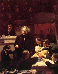 EMPHASIS created by scale contrast | central placement | The Gross Clinic by Thomas Eakins, Oil on canvas